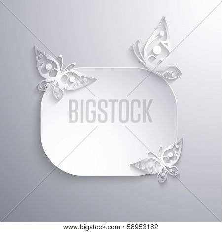 Paper 3d label with butterflies background - eps10 vector