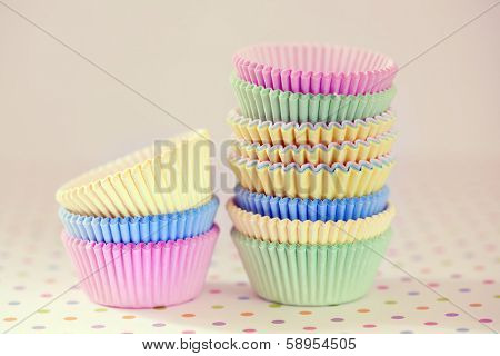 Colorful cupcakes baking cups