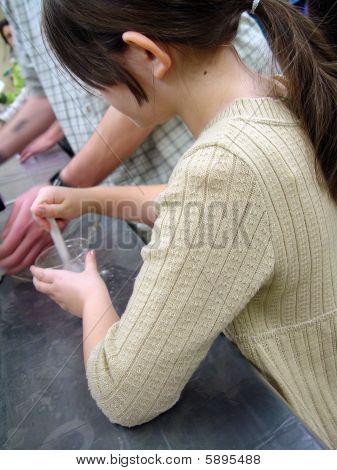 Girl Mixing Slime