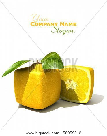 3D rendering of a cubic lemon and a half