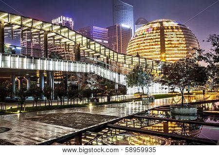 Hangzhou - December 28,2013: exterior of Hangzhou International Convention Center on December 28,2013.