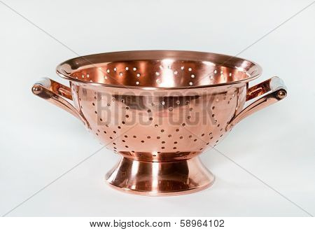 Copper Colander with Heart Designs
