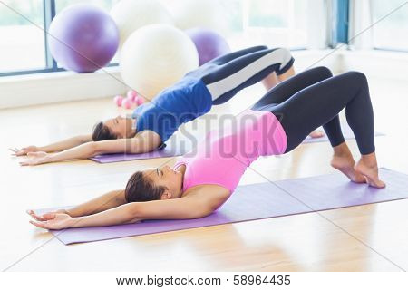 Two sporty young women stretching body at yoga class in fitness studio