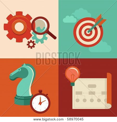 Vector Strategy Concept In Flat Trendy Style