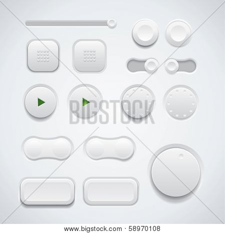UI button set including switches and push buttons in different design variations