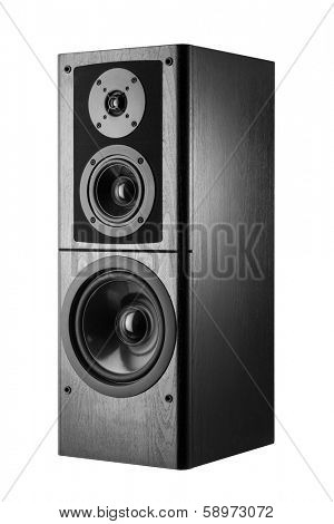 Black audio speaker, stereo equipment.