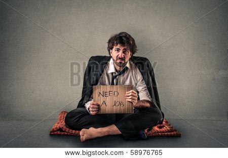 homeless businessman