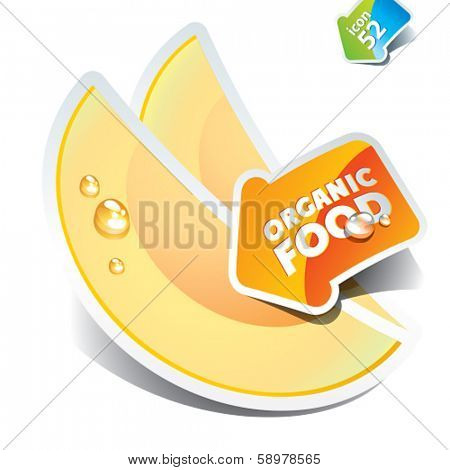 Icon of sliced melon with the arrow by organic food. Vector illustration.