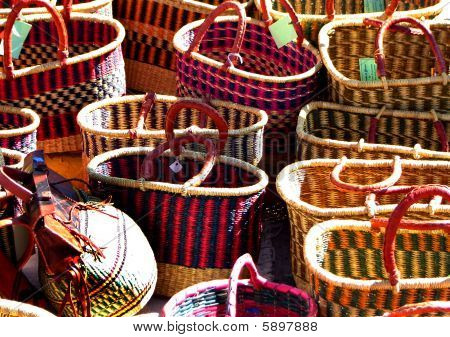 Colorful woven baskets displayed at the lewistown chokecherry  festival.