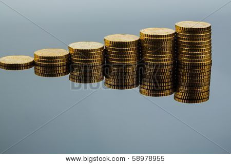stacked coins ascending series, symbolic photo for financial planning, increasing yield and good rate of return