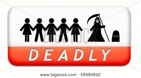 deadly dangerous warning sign very risky business life threatening poison leading to certain death