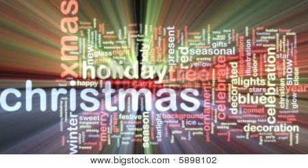 Christmas Word Cloud Glowing