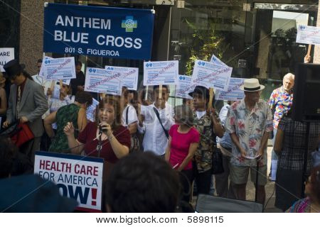 """Los Angeles-september 22:  """"big Insurance: Sick Of It"""" Rally At Anthem Blue Cross Insurance Company"""