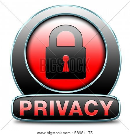 privacy policy for data protection and personal top secret confidential information. Label icon or sign safety terms