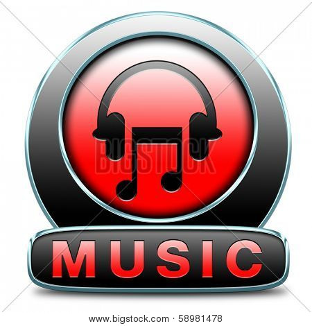 Music button or icon to play and to listen live stream or for download song