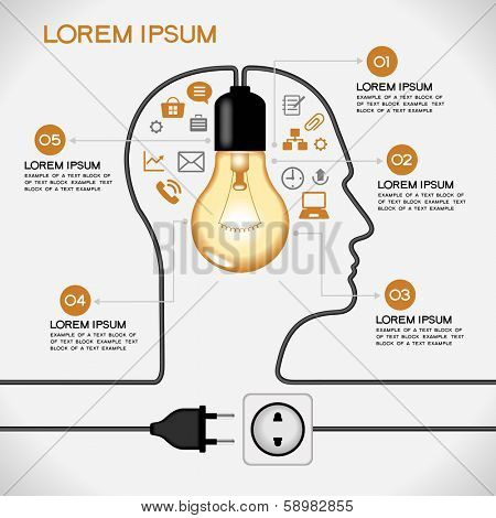 Profile of human head with  lightbulb, icons,  plug, socket, text. Concept of business idea. The file is saved in the version AI10 EPS. This image contains transparency.