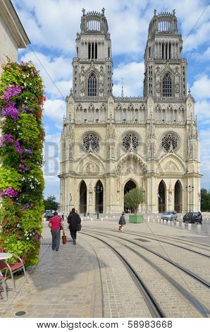 ORLEANS, FRANCE - SEPTEMBER 10, 2013: View to Orleans Cathedral, the seat of the Bishop of Orleans. Joan of Arc attended evening Mass in this cathedral on May 2, 1429