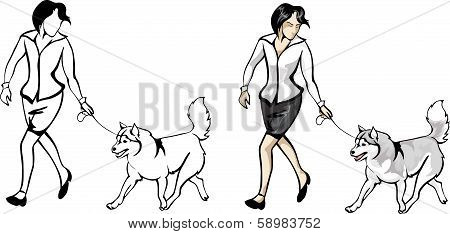 woman showing dogs on the show