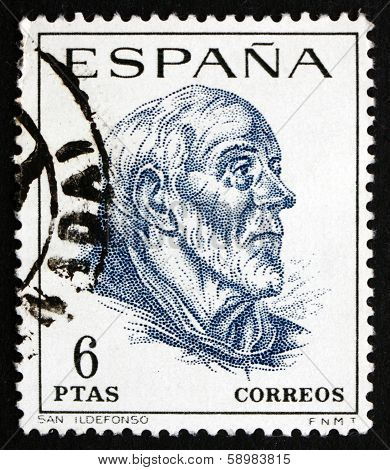 Postage Stamp Spain 1967 St. Ildefonso, Scholar And Theologian