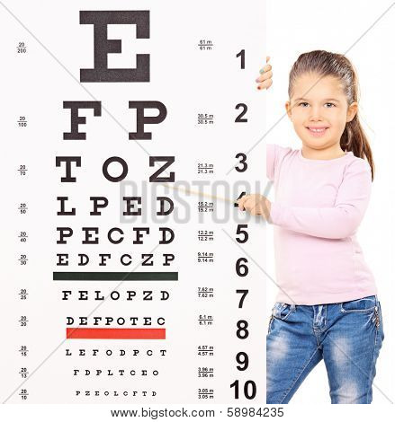 Cute little girl pointing at an eyesight test with wooden stick isolated on white background, shot with tilt and shift lens