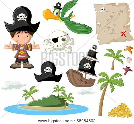 Cartoon pirate boy with pirate icon set.