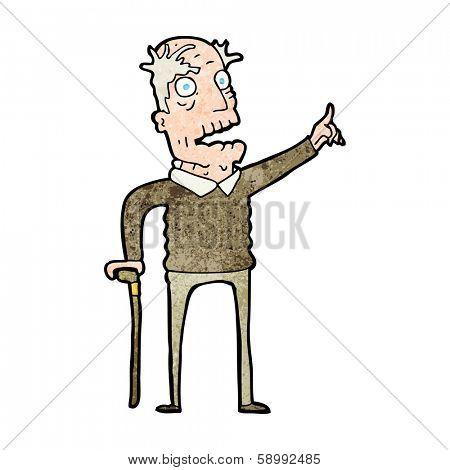 cartoon old man with walking stick