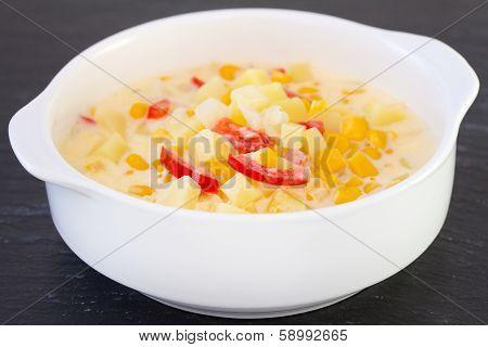Corn Chowder In White Bowl