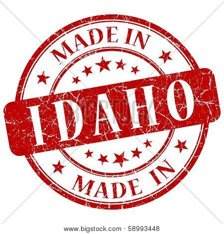 Made In Idaho Red Round Grunge Isolated Stamp