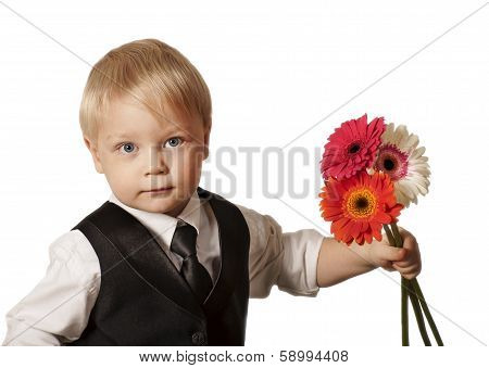 Young blond man in with flower
