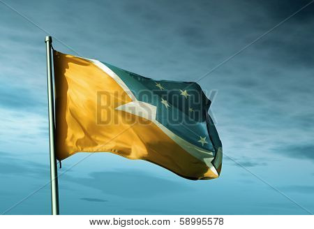 Tierra del Fuego Province (ARGENTINA) flag waving on the wind