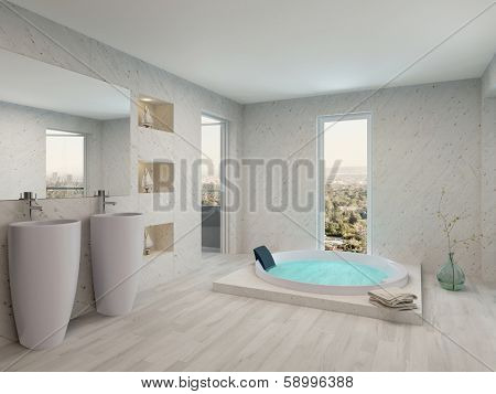 Pure clean white bathroom interior with bathtub