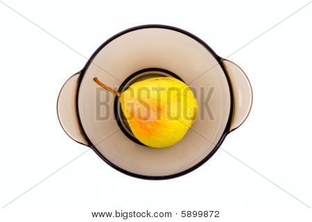 Pear In Bowl On Isolated White Background