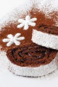 foto of torta  - great dessert with choko and coconut in white background - JPG