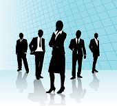 pic of person silhouette  - vector image of business people on a blue background - JPG