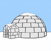 picture of igloo  - Cartoon illustration showing an igloo in the middle of nowhere with some snow on top of it - JPG
