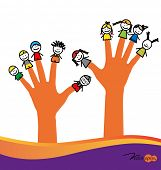 picture of finger-painting  - Cute happy cartoon kids on fingers - JPG