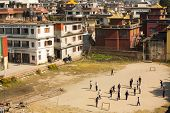 KATHMANDU, NEPAL - DEC 2: View from top of residential houses in the area Boudha, Dec 2, 2013 in Kat