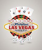 stock photo of roulette table  - vector american roulette wheel with Las Vegas sign - JPG