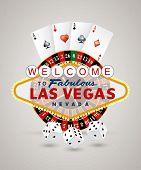stock photo of las vegas casino  - vector american roulette wheel with Las Vegas sign - JPG