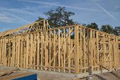 JACKSONVILLE, FLORIDA, USA-SEPTEMBER 15, 2013: A new home under construction in Florida. New home sa