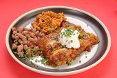 foto of scallion  - Mexican Plate with beef enchaladas - JPG