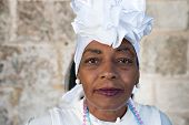 HAVANA,CUBA - JANUARY 20, 2014:Portrait of an afro woman dressed with typical clothes.Characters lik