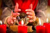 stock photo of clairvoyant  - Female Fortuneteller or esoteric Oracle - JPG