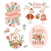 Set of Easter cards illustrations