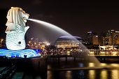 Singapore Merlion Park At Night