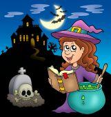 Постер, плакат: Милая ведьма с зельем и особняк