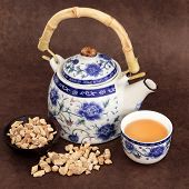 image of ginseng  - Ginseng herb tea with chinese teapot and cup over brown lokta handmade paper - JPG