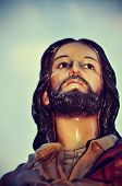 picture of sacred heart jesus  - closeup of an old sculpture of Jesus - JPG