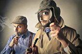 stock photo of ironic  - Sherlock and Watson - JPG