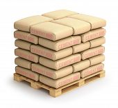 stock photo of wooden pallet  - Cement sacks on wooden pallet  - JPG